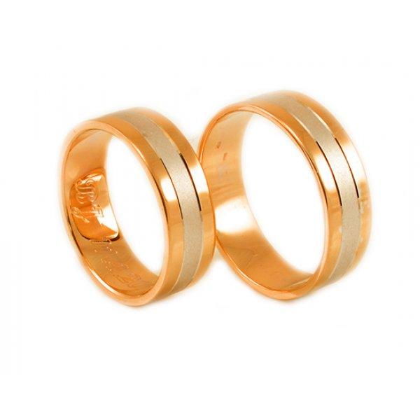 Svadobné obrúčky z červeného a bieleho zlata bez kamienkov