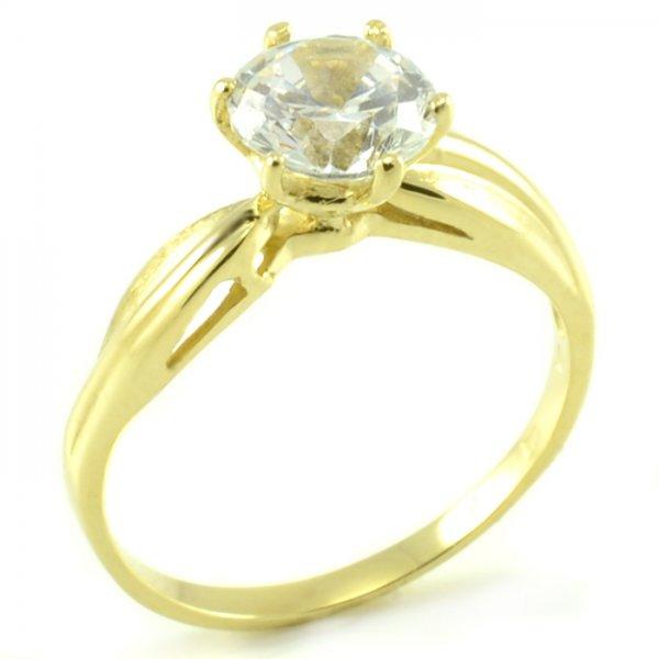 Zásnubný prsteň zo žltého zlata - zatočená šína a korunka so 6 prackami Ema