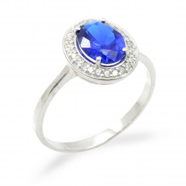 Prsteň z bieleho zlata so syntetickými zirkónmi a modrým spinelom
