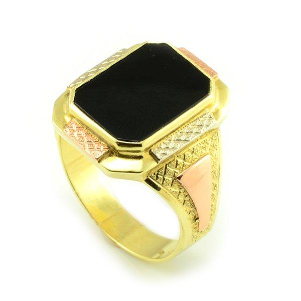 Zlatý pánsky pečatný prsteň s čiernym onyxom