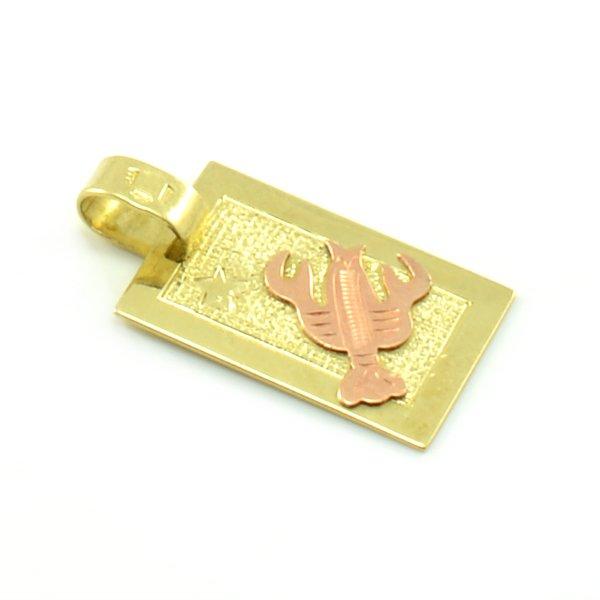 Zlatý platničkový prívesok v znamení Rak