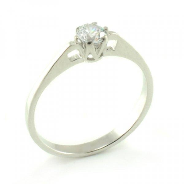 Zásnubný prsteň z bieleho zlata s výrezom korunky a centrálnym zirkónom Sarah