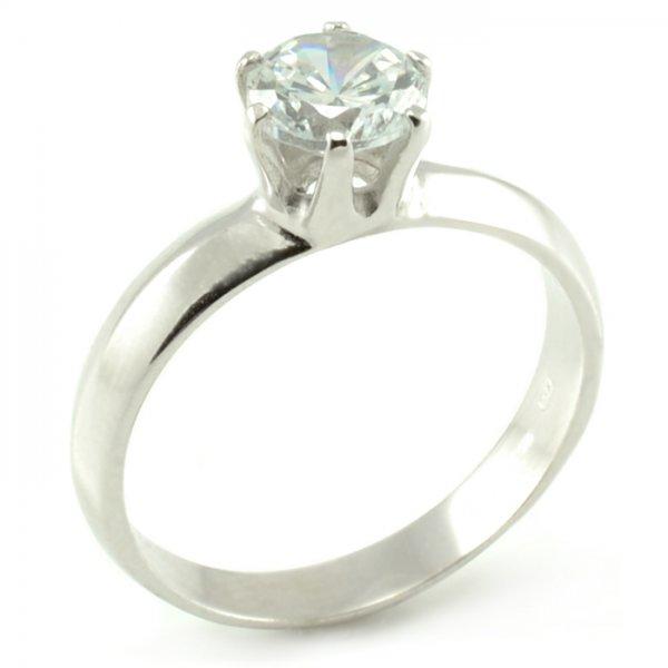 Zásnubný prsteň z bieleho zlata so skosenou šínou Tamara