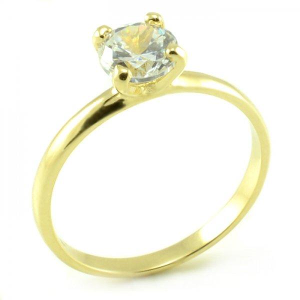 Zásnubný prsteň zo žltého zlata s veľkým centrálnym zirkónom veľkosti 6 mm Lujza