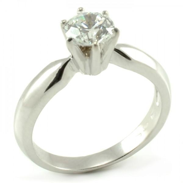 Zásnubný prsteň z bieleho zlata - zoštíhlené telo a zirkón veľkosti 6 mm