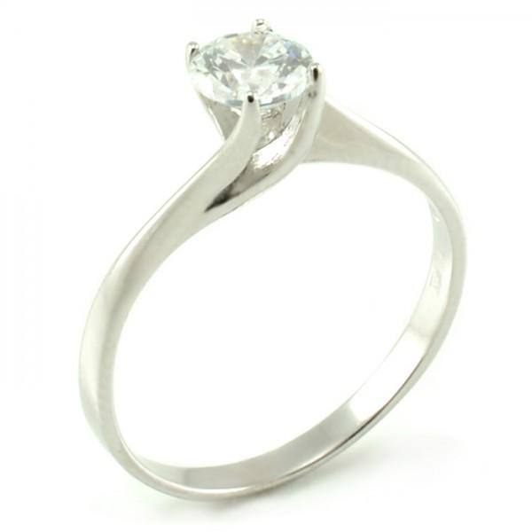 Zásnubný prsteň z bieleho zlata s kameňom zovretým packami Tiffany