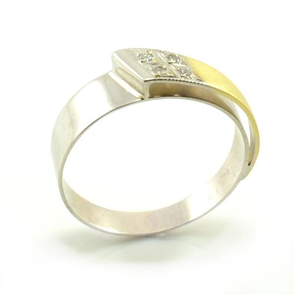 Zlatý decentný prsteň zo žltého a bieleho zlata