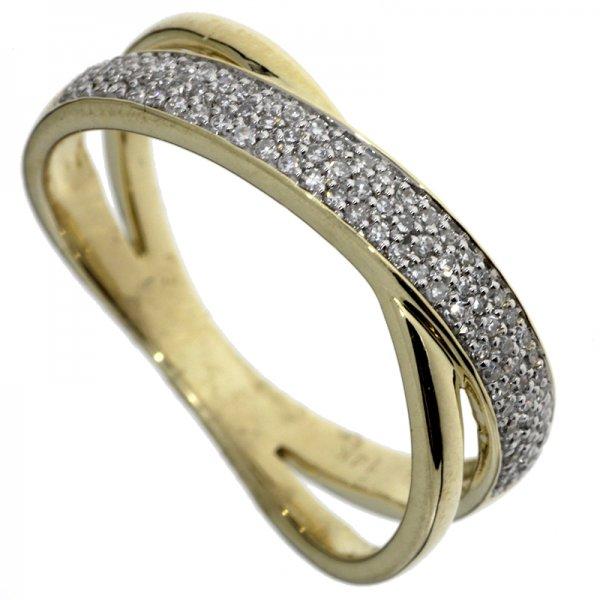 Prsteň zo žltého zlata s briliantmi