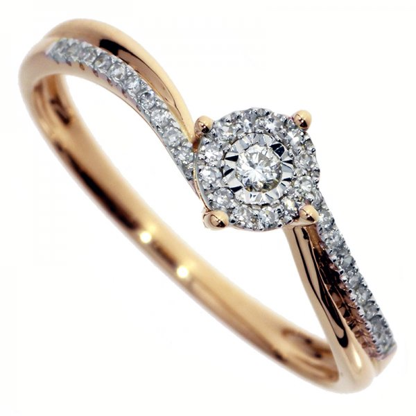 Zásnubný prsteň z červeného zlata s briliantmi