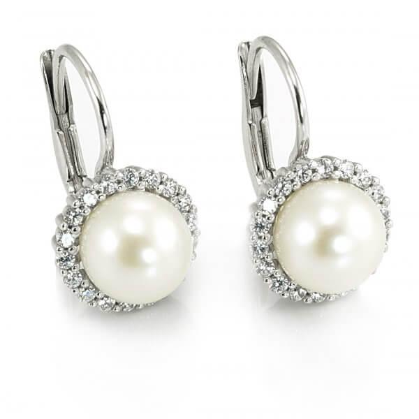 Náušnice z bieleho zlata veľká biela prírodná perla zirkóny dookola