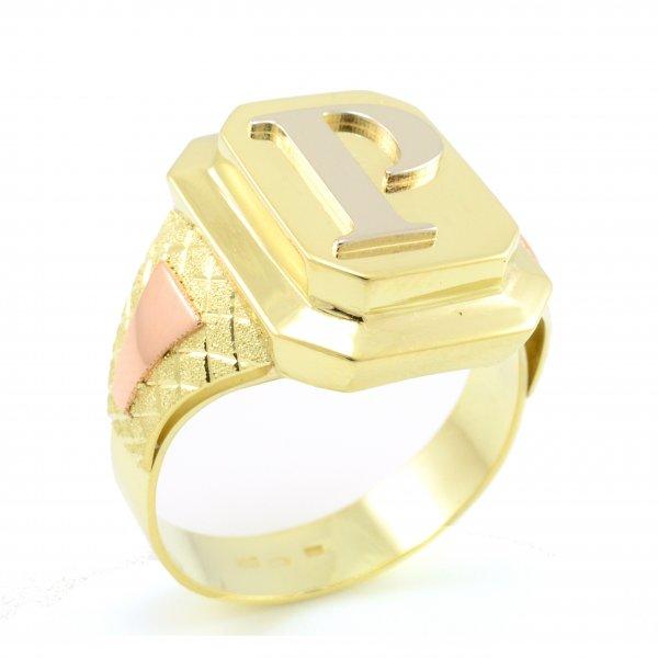 Zlatý pánsky pečatný prsteň celozlatý s písmenom