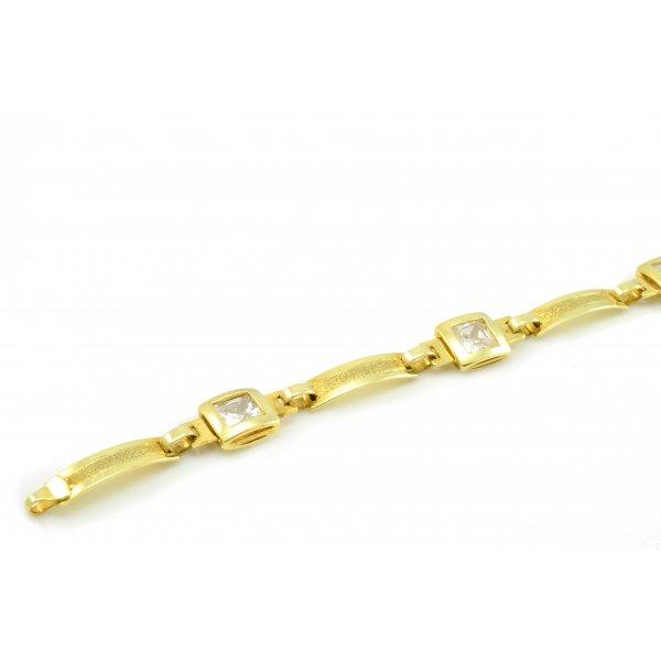 Náramok zo žltého zlata - číry zirkón 5 x 5 mm