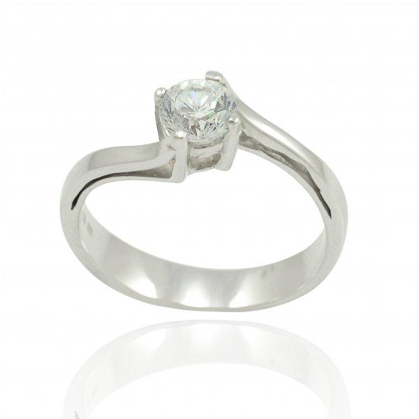 Zásnubný prsteň z bieleho zlata s prepletanou líniou a centrálnym kameňom Nora