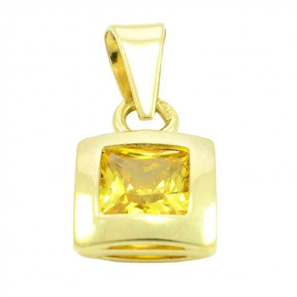 Prívesok zo žltého zlata -žltý zirkón 5 mm x 5 mm