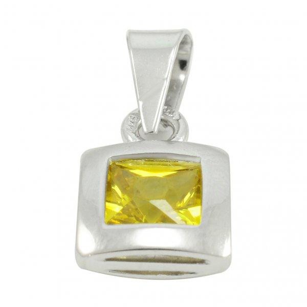 Prívesok z bieleho zlata - žltý zirkón 5 mm x 5 mm