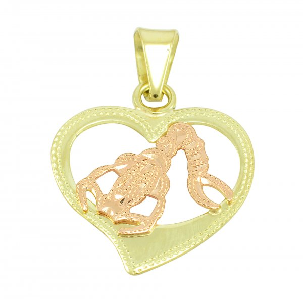 Zlatý srdiečkový prívesok - znamenie škorpión