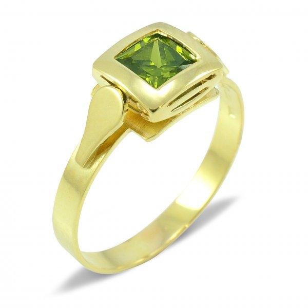 Prsteň zo žltého zlata 5 mm x 5 mm - zelený zirkón