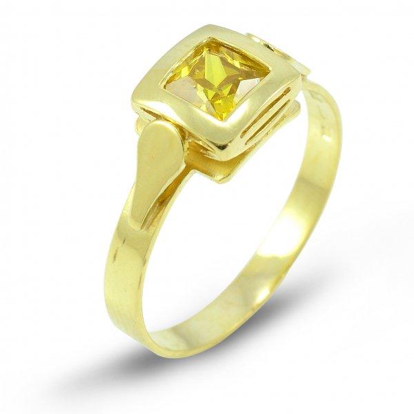 Prsteň zo žltého zlata 5 mm x 5 mm - žltý zirkón