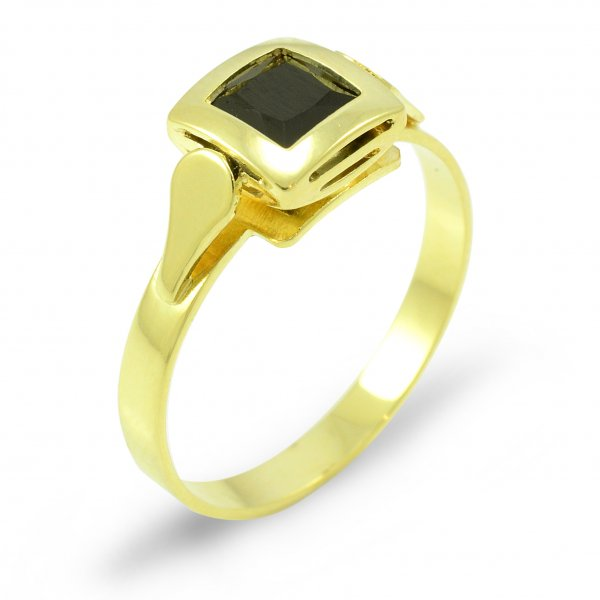 Prsteň zo žltého zlata 5 mm x 5 mm - čierny zirkón