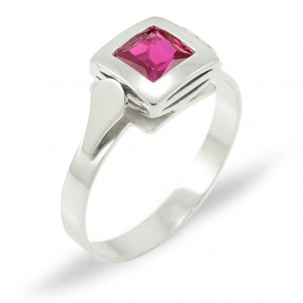 Prsteň z bieleho zlata 5 mm x 5 mm- ružovofialový zirkón