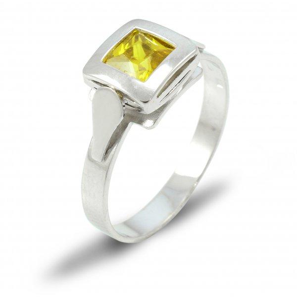 Prsteň z bieleho zlata 5 mm x 5 mm žltý zirkón