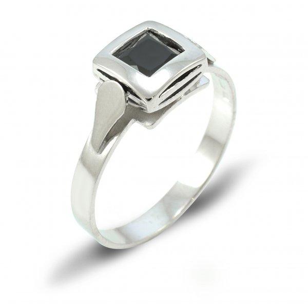 Prsteň z bieleho zlata 5 mm x 5 mm čierny zirkón