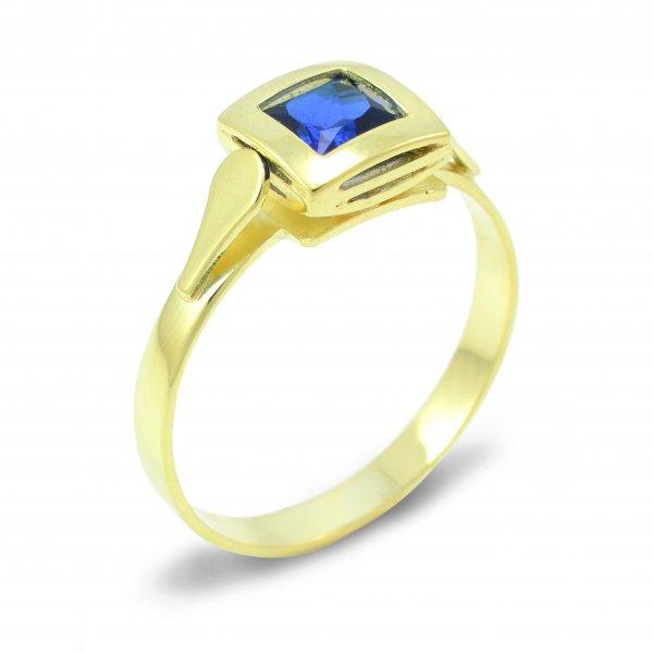 Zlatý prsteň s modrým zirkónom zo žltého zlata
