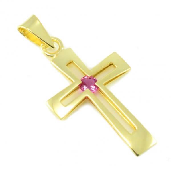 Zlatý prívesok - Krížik s tmavoružovým zirkónom