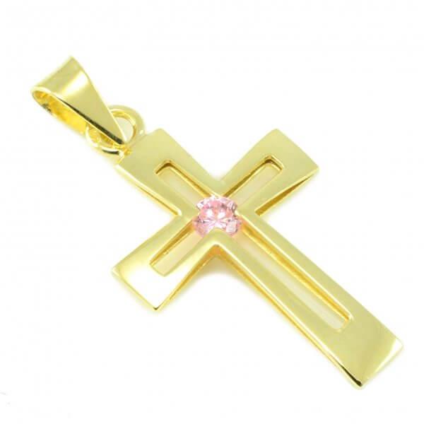 Zlatý prívesok - Krížik sv ružovým zirkónom