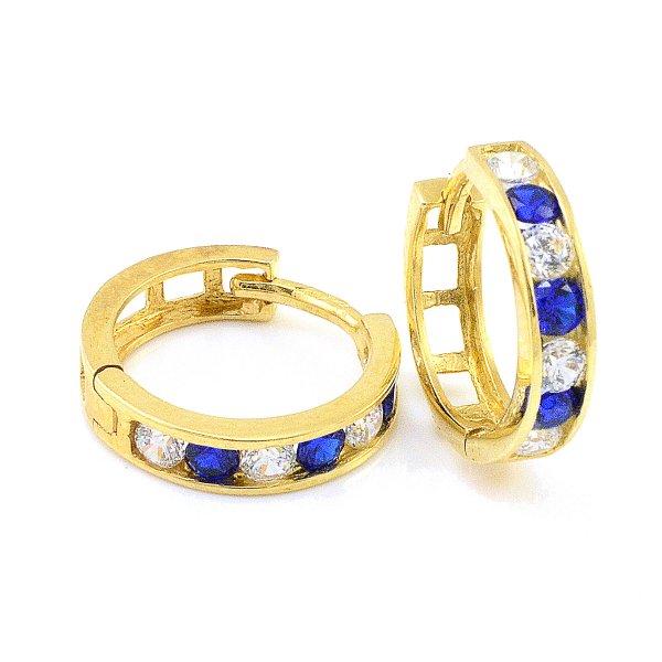 Náušnice zo žltého zlata krúžky kameňové s modrými zirkónmi 14 mm priemer