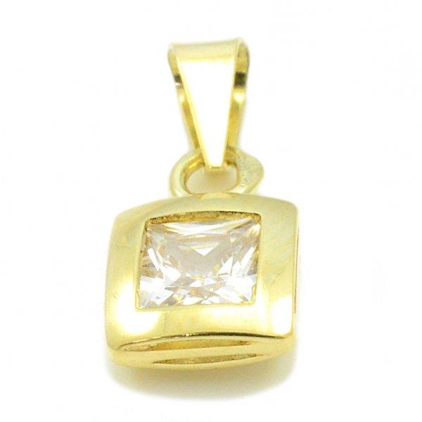 Prívesok zo žltého zlata -číry zirkón 5 mm x 5 mm