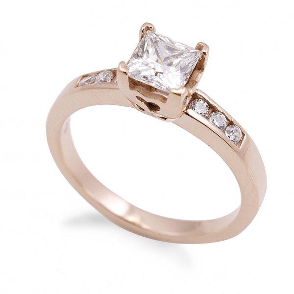 Zásnubný prsteň z červeného zlata so 6 zirkónmi plus štvorcový kameň Jana