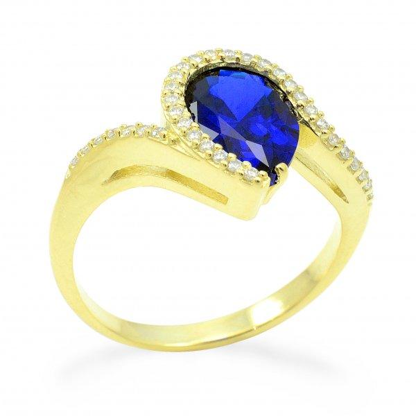Prsteň zo žltého zlata - Slza s tmavomodrým zirkónom
