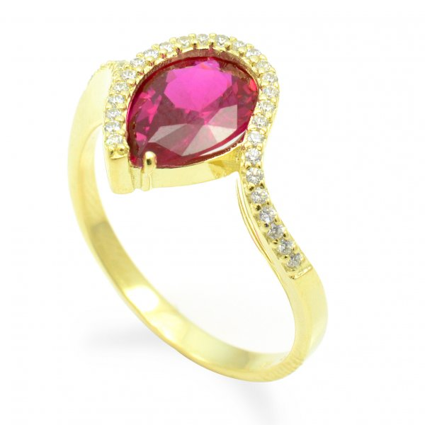 Prsteň zo žltého zlata - Slza s rubínovým zirkónom