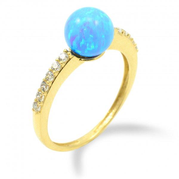 Prsteň zo žltého zlata - Gulička v modrom opále
