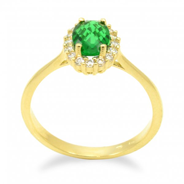 Prsteň zo žltého zlata - Zelený ovál