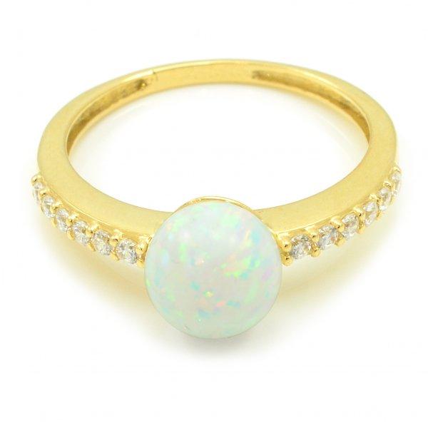Prsteň zo žltého zlata - Gulička biely opál