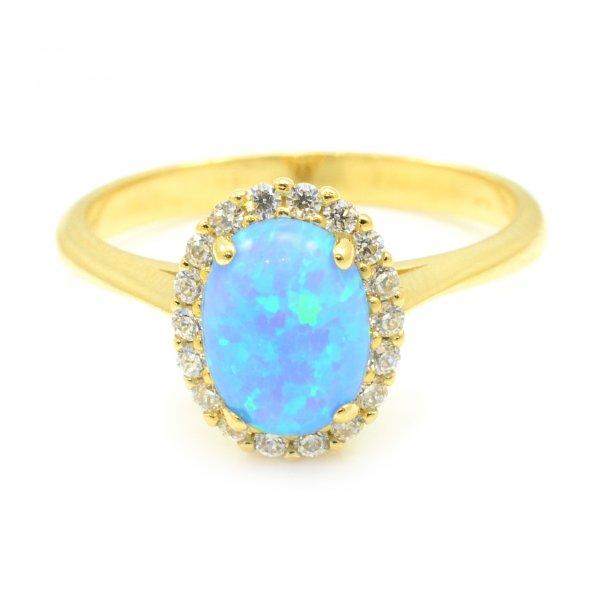Prsteň zo žltého zlata - Ovál s modrým opálom