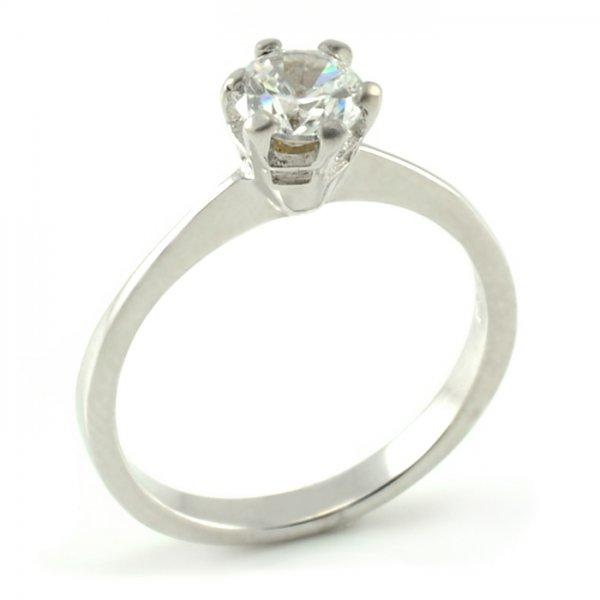 Zásnubný prsteň z bieleho zlata s typickým centrálnym zirkónom Marta