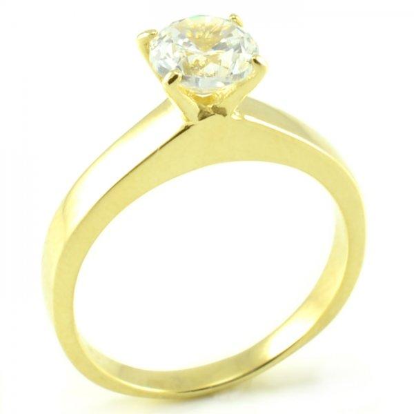 Zásnubný prsteň zo žltého zlata s centrálnym zirkónom medzi 4 prackami Lea