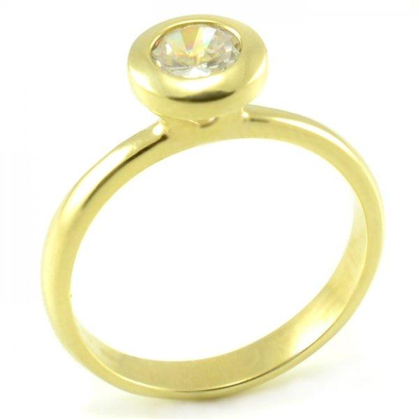 Zásnubný prsteň zo žltého zlata so zaklepaným zirkónom