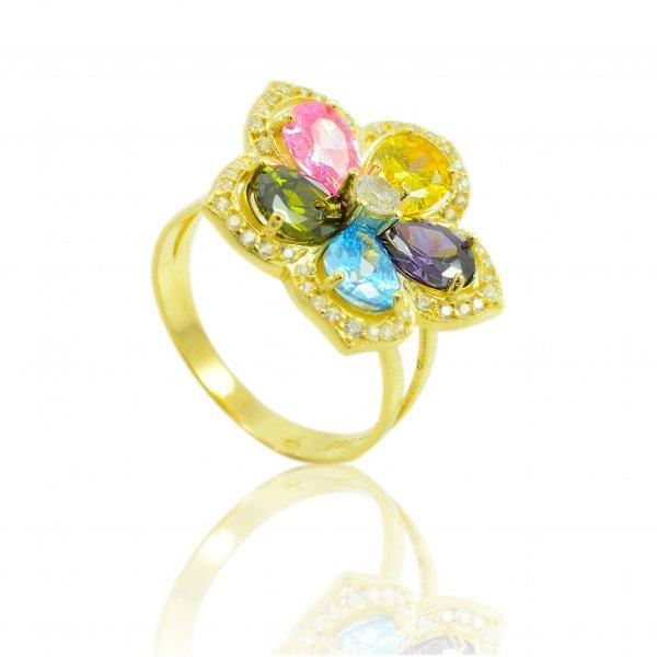 Prsteň zo žltého zlata - Kvet