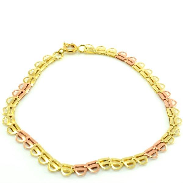 Náramok zo žltého a červeného zlata-prepletané ušká