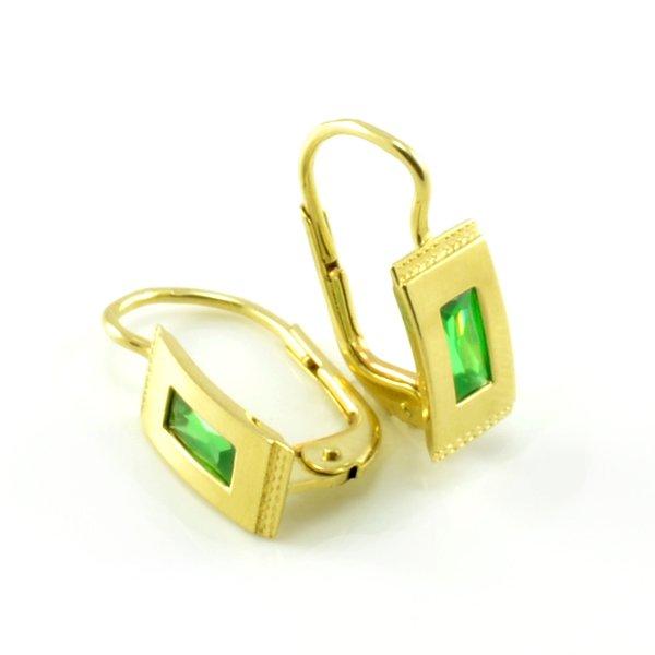 Náušnice zo žltého zlata - zelený zirkón