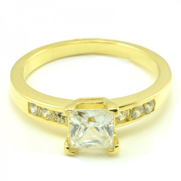 Zásnubný prsteň zo žltého zlata so 6 zirkónmi plus štvorcový kameň Jana