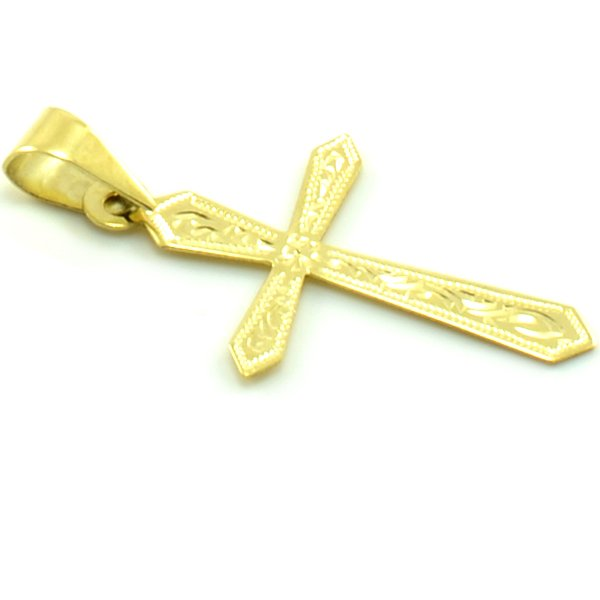 Zlatý prívesok v tvare kríža zo žltého zlata