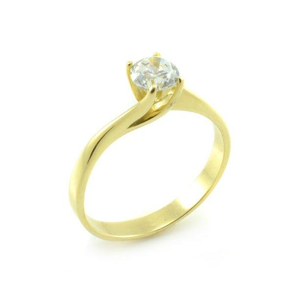 Zásnubný prsteň zo žltého zlata s kameňom zovretým packami Tiffany