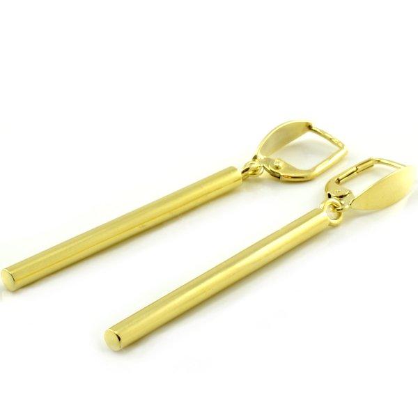Náušnice zo žltého zlata-visiace v oválnom tvare