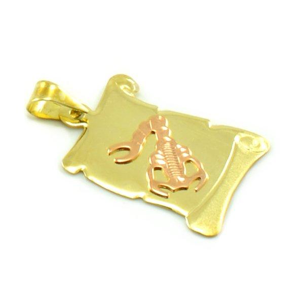 Znamenie zo žltého zlata v tvare zvinutého listu papiera - škorpión