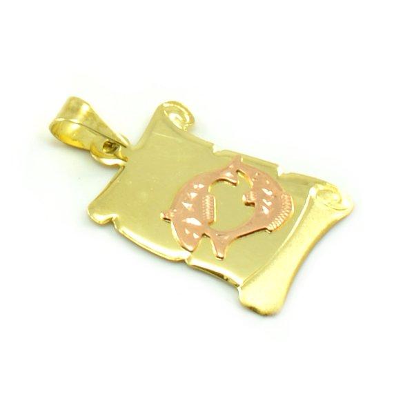 Znamenie zo žltého zlata v tvare zvinutého listu papiera - ryby